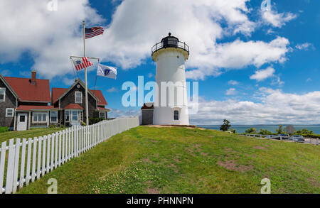 Panoramic view of Nobska Lighthouse, Woods Hole, Cape Cod, New England, Massachusetts, USA. - Stock Photo