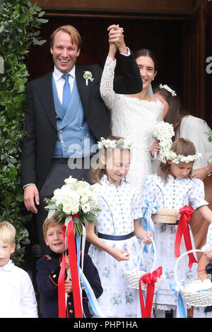 St. Moritz, Switzerland. 01st Sep, 2018. 01.09.2018, Switzerland, St. Moritz: Constantine of Bavaria and his wife Deniz come out of the church after their marriage ceremony. Credit: Franziska Kraufmann/dpa/Alamy Live News - Stock Photo