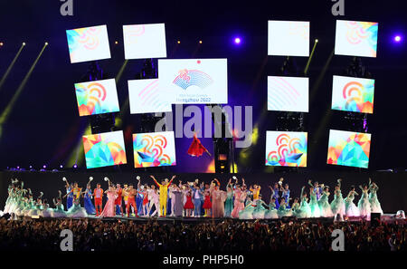 (180902) -- JAKARTA, Sept. 2, 2018 (Xinhua) -- Photo taken on Sept. 2, 2018 shows the Hangzhou 2022 presentation during the closing ceremony of the 18th Asian Games at the Gelora Bung Karno (GBK) Main Stadium in Jakarta, Indonesia.(Xinhua/Lan Hongguang) - Stock Photo