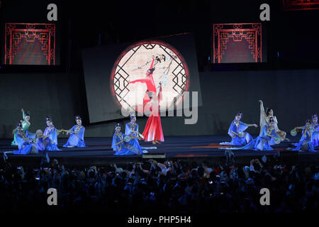 (180902) -- JAKARTA, Sept. 2, 2018 (Xinhua) -- Photo taken on Sept. 2, 2018 shows the Hangzhou 2022 presentation during the closing ceremony of the 18th Asian Games at the Gelora Bung Karno (GBK) Main Stadium in Jakarta, Indonesia.(Xinhua/Ding Ting) - Stock Photo