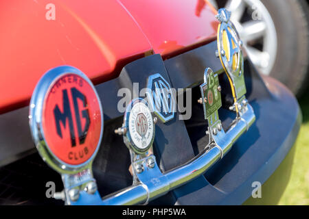 Eastbourne, East Sussex, UK. 2nd September 2018. Owners of classic MG cars take part in their annual South Downs Run to the Western Lawns of this seaside town as it basks in the September sunshine. The rally starting in Arundel West Sussex follows the 80 mile route  crossing the breathtaking Beachy Head cliffs on the East Sussex South Downs before descending into the town of Eastbourne. Credit: Newspics UK South/Alamy Live News - Stock Photo