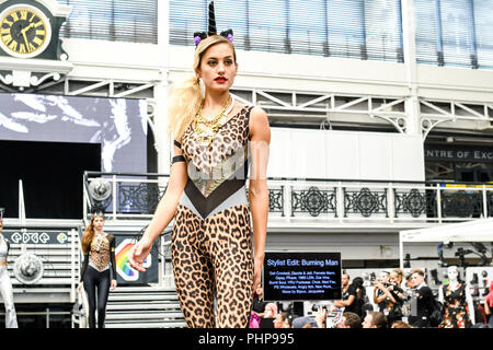 London, UK. 1st September, 2018. Hundreds of stalls at the LondonEdge 2018 | Authentic Lifestyle Fashion Trade Shows and exhibition and the first La Vegas show catwalk at Business Design Centre. - Stock Photo