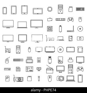 Set of icons computer devices and accessories of thin lines, isolated on white background, vector illustration. - Stock Photo