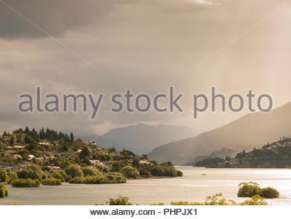 Lake Wakatipu in New Zealand - Stock Photo
