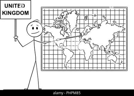 Cartoon of Man Pointing at England or Great Britain or United Kingdom on Wall World Map - Stock Photo