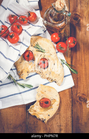 Focaccia with tomatoes - Stock Photo