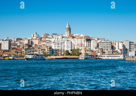 The beautiful view of the Galata Tower across the Golden Horn, Istanbul, Turkey - Stock Photo