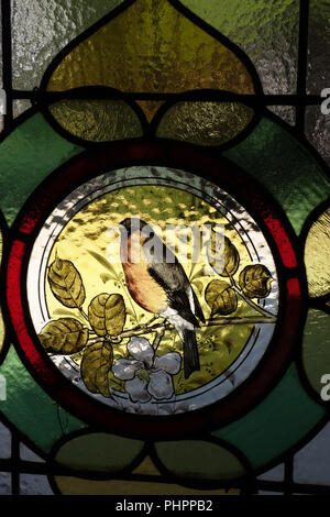 Closeup of birds hand painted on antique stained glass window door - Stock Photo