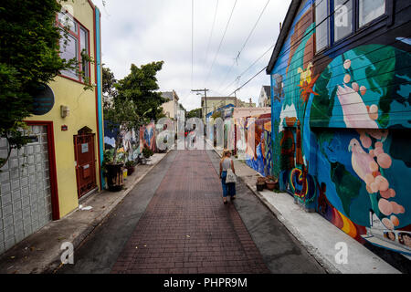 Balmy Alley, a street located in the Mission District in San Francisco, California. The most concentrated collection of murals in San Francisco. - Stock Photo