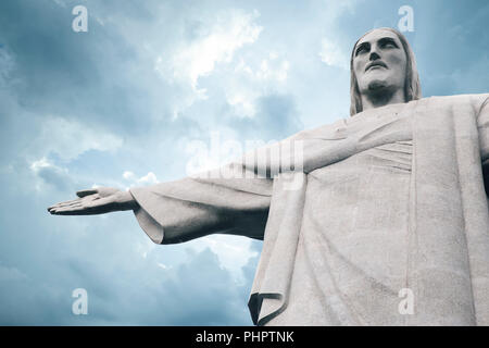 Christ the Redeemer (Cristo Redentor) statue in Rio de Janeiro, Brazil - Stock Photo