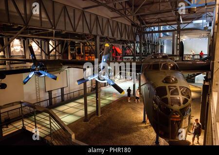 Warsaw Rising Museum (Muzeum Powstania Warszawskiego) interior in Warsaw, Poland, Liberator B-24 airplane, an American heavy bomber, supported insurge - Stock Photo