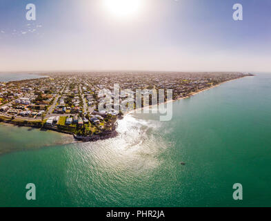 Aerial drone view of Woody Point and Margate on Redcliffe peninsula, Brisbane, Australia - Stock Photo