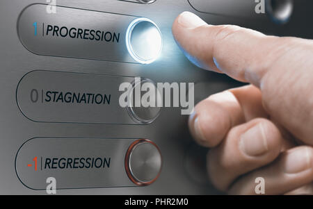 Man pushing an elevator button where it is written he words progression, stagnation and regression. Successful life choice or career advancement conce - Stock Photo