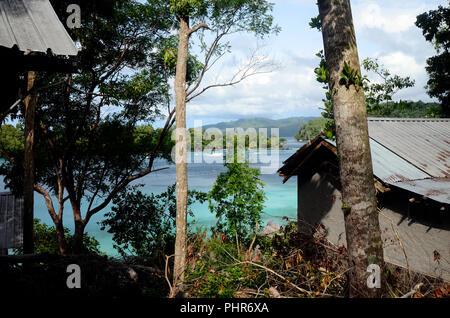 Sea coast landscape and bungalows in Pulau Weh island, sumatra, indonesia - Stock Photo