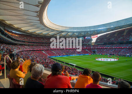 Wanda Metropolitano Stadium before football match. Madrid, Spain. - Stock Photo