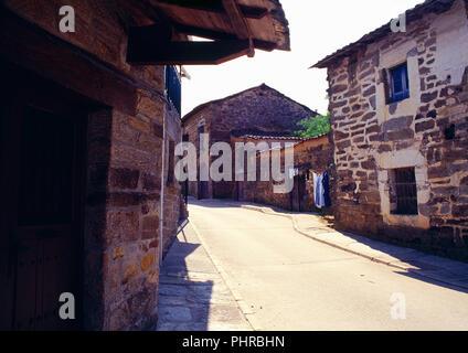 Street. Villardeciervos, Zamora province, Castilla Leon, Spain. - Stock Photo