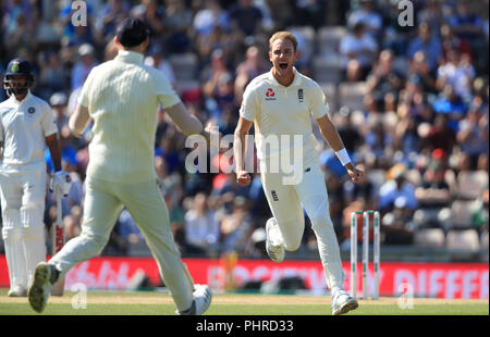 England's Stuart Broad celebrates taking the wicket of India's KL Rahul during day four of the fourth test at the AGEAS Bowl, Southampton. - Stock Photo