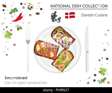 Denmark Cuisine. European national dish collection. Danish open sanwiches isolated on white, infographic. Vector illustration - Stock Photo