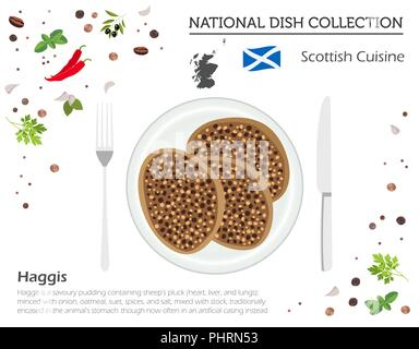 Scottish Cuisine. European national dish collection. Haggis isolated on white, infographic. Vector illustration - Stock Photo
