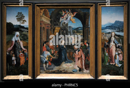 Jan de Beer (ca.1475-ca.1528). Flemish painter. Triptych with Adoration of the Shepherds, ca.1515. Wallraf-Richartz Museum. Cologne. Germany. - Stock Photo