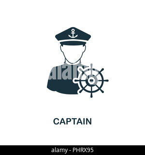 Captain icon. Monochrome style design from professions collection. UI. Pixel perfect simple pictogram captain icon. Web design, apps, software, print  - Stock Photo