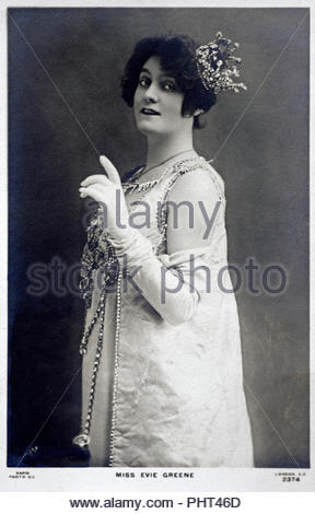 Edith Elizabeth 'Evie' Greene portrait 1875 - 1917, was a much-photographed English actress and singer who played in Edwardian musical comedies in London and on Broadway. She is most notable for starring as Dolores, the central character in the international hit musical Florodora. She also sang on the world's first original cast album, recorded for this musical , vintage real photograph postcard from 1900 - Stock Photo