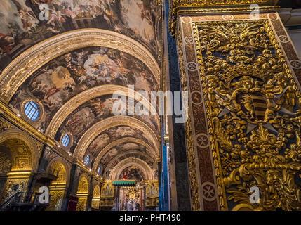 Interior of St John's Co-Cathedral, Valletta, Malta - Stock Photo
