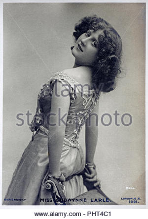 Godwynne Earle portrait, was an American actress, dancer and singer, vintage real photograph postcard from 1905 - Stock Photo