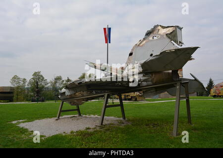 MIG 21 wreckage in open air military museum in Turanj, Croatia - Stock Photo