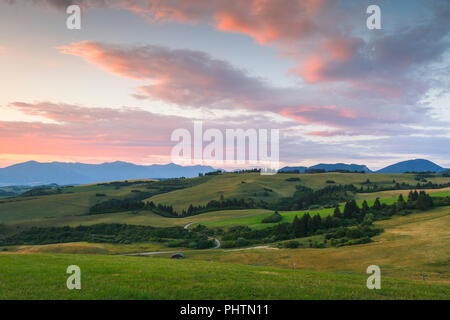 Rural landscape with pastures and meadows in Turiec region, central Slovakia. - Stock Photo