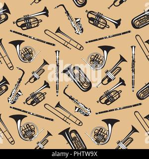 Vector seamless pattern with wind musical instruments - Stock Photo