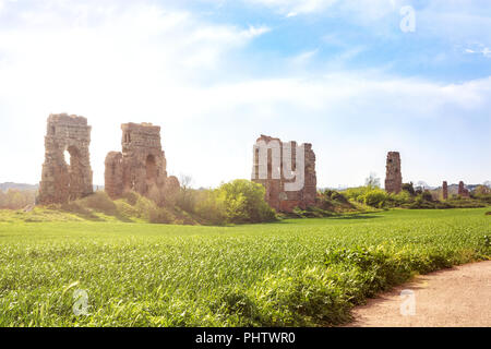 archaeological remains inside the Aqueducts Park in Rome - Stock Photo