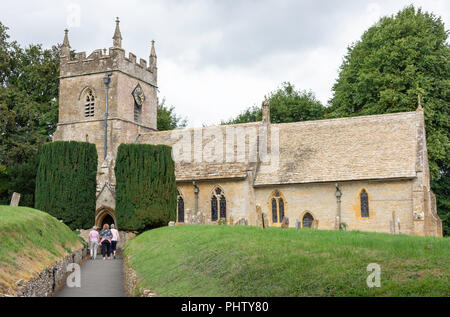 The Parish Church of St Peter, The Square, Upper Slaughter, Gloucestershire, England, United Kingdom - Stock Photo