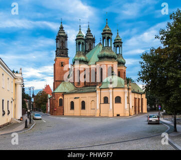Basilica of the Holy Apostles Peter and Paul on the island Tumski in Poznan. Poland - Stock Photo
