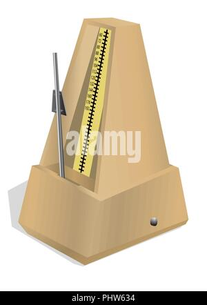 antique metronome isolated on the white background - Stock Photo