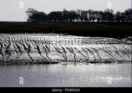 Low tide mudbanks on the River Bladnoch at the Wigtown Nature Reserve, Wigtown Harbour - Stock Photo