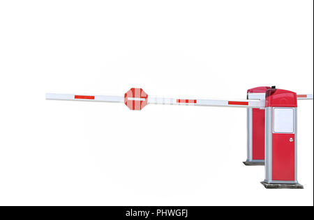 Red and white colored street barrier sign - Stock Photo