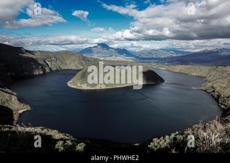 Cuicocha crater lake and caldera, Cotacachi volcano, Ecuador - Stock Photo