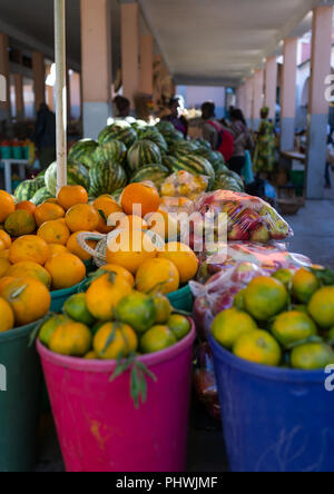 Fruits sold in the central market, Huila Province, Lubango, Angola - Stock Photo