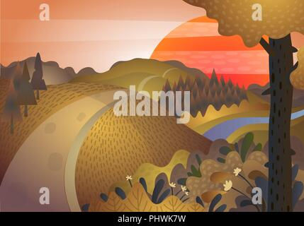 Autumn landscape. The road and the hills at sunset - Stock Photo