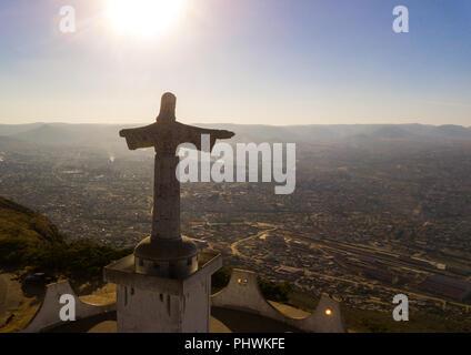 Aerial view of the Cristo Rei overlooking the city, Huila Province, Lubango, Angola - Stock Photo
