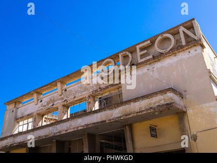 Old portuguese colonial building of the cine teatro odeon, Huila Province, Lubango, Angola - Stock Photo