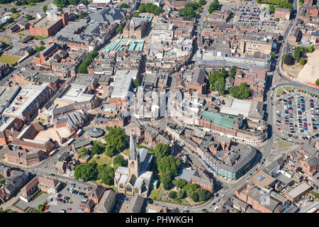 An aerial view of Chesterfield Town Centre, South Yorkshire, Northern England, UK - Stock Photo