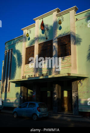 Old portuguese colonial building of the cine teatro Namibe, Namibe Province, Namibe, Angola - Stock Photo
