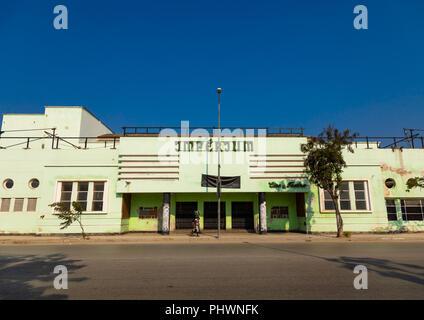 Art deco portuguese colonial building formerly cine teatro Imperium, Benguela Province, Lobito, Angola - Stock Photo