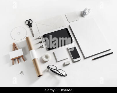 Brand identity mockup. Blank stationery and gadgets on paper background. - Stock Photo