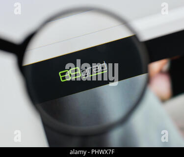 Milan, Italy - August 20, 2018: 89grad website homepage. 89grad logo visible. - Stock Photo