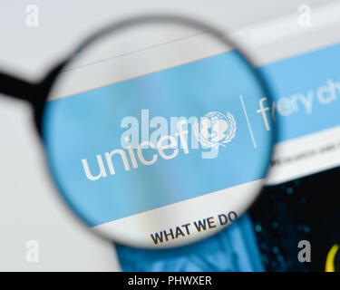 Milan, Italy - August 20, 2018: UNICEF website homepage. UNICEF logo visible. - Stock Photo