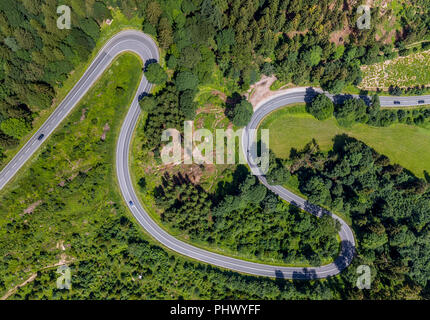 Hairpin bends, Am Bilstein, Highway L870, Motorcycle route with dangerous curves, Brilon, Sauerland, North Rhine-Westphalia, Germany, DEU, Europe, aer - Stock Photo