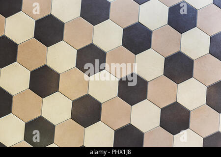 Colorful marble hexagon tiles. Beige and brown - Stock Photo